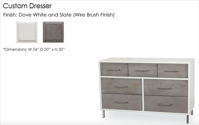 Lorts Custom Dresser finished in Dove White and Slate, Wire Brush Finish