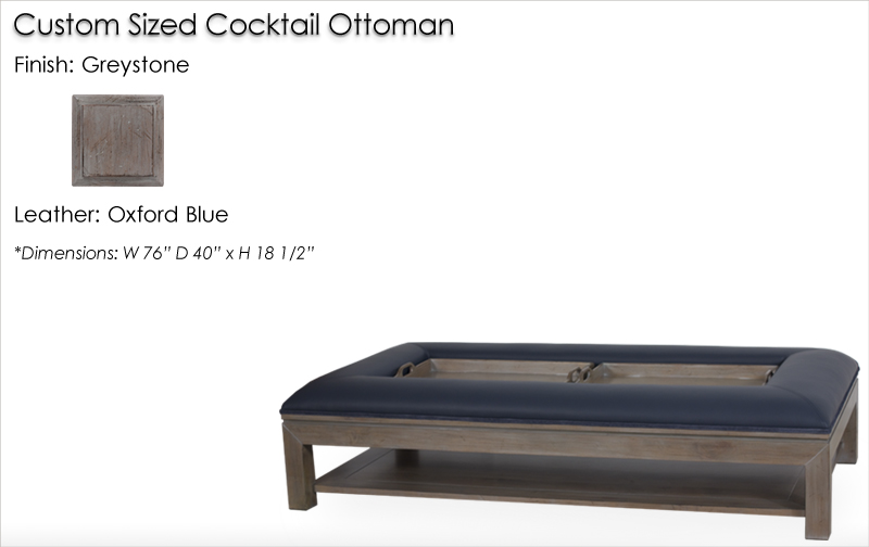 Lorts Custom Sized 9759 Cocktail Ottoman finished in Greystone