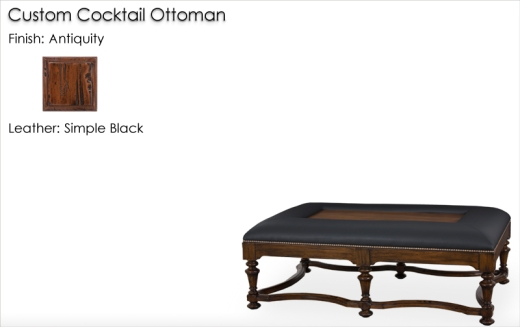 Lorts Custom Cocktail Ottoman without Drink Trays finished in Antiquity