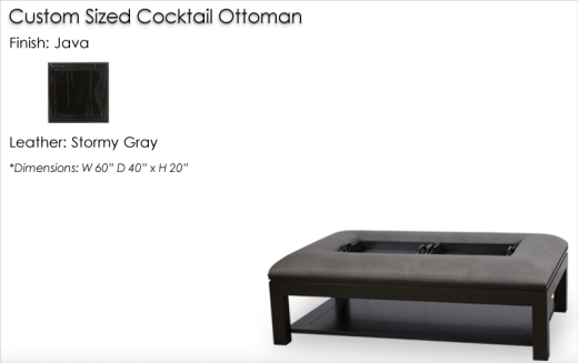 Lorts Custom Sized 9760 Cocktail Ottoman finished in Java