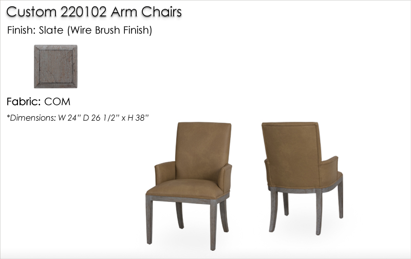 Lorts Custom Sized 220102 Arm Chairs finished in Slate, Wire Brush Finish