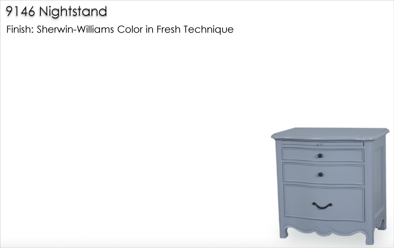 Lorts 9146 Nightstand finished in Sherwin-Williams Color in Fresh Technique