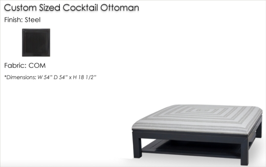 Lorts Custom Sized 959 Cocktail Ottoman finished in Steel
