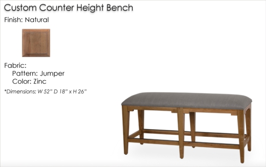 Lorts Custom Backless Counter Height Bench finished in Natural