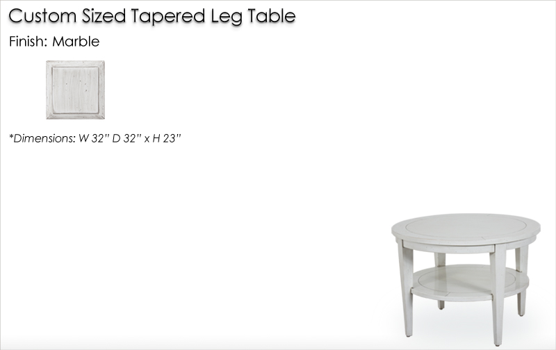 Lorts Custom Sized 3675 Tapered Leg Table finished in Marble