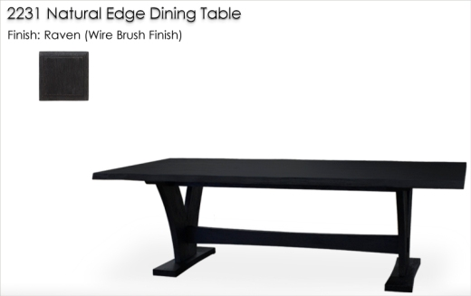 Lorts 2231 Natural Edge Dining Table finished in Raven, Wire Brush Finish