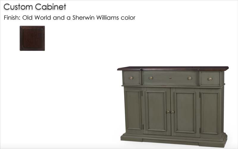 Lorts Custom Sized 7164 Cabinet finished in Old World and a Sherwin Williams Color