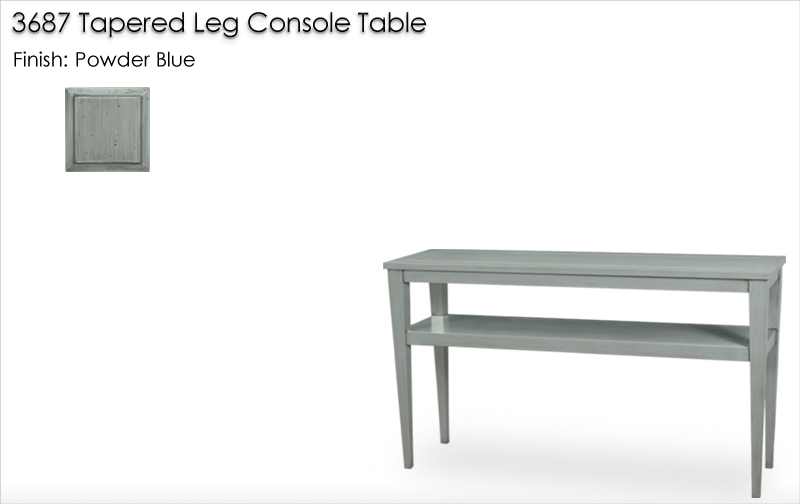 Lorts 3687 Tapered Leg Console Table finished in Powder Blue