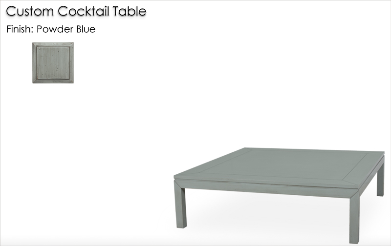 Lorts Custom Cocktail Table finished in Powder Blue