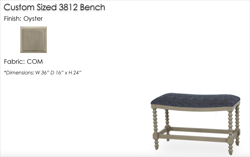 Lorts Custom Sized 3812 Bench finished in Oyster