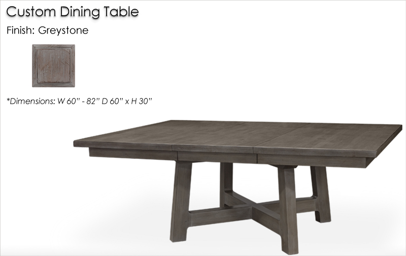 Lorts Custom 7112 / 8611 Dining Table finished in Greystone