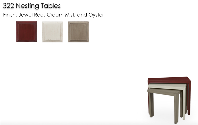 Lorts 322 NestingTable finished in Jewel Red, Cream Mist, and Oyster
