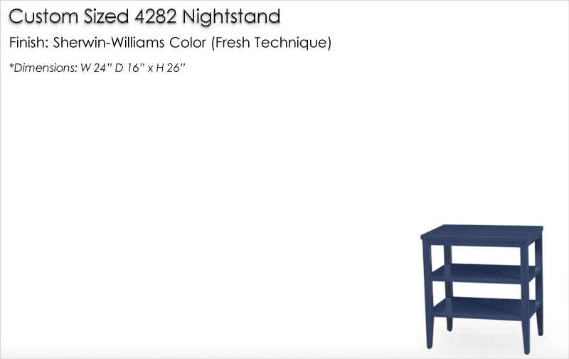 Lorts Cutom Sized 4284 Nightstand finished in a Sherwin-Williams Color