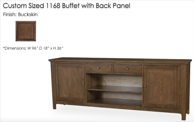 Lorts Custom sized 1168 Buffet with back panel finished in Buckskin