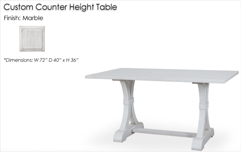 Lorts Custom Counter Height Table finished in Marble