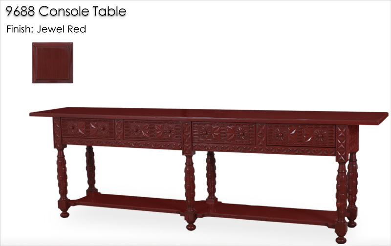 Lorts 9688 Console Table finished in Jewel Red