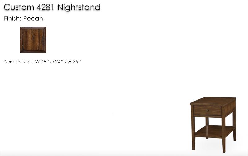 Lorts Custom 4281 Nightstand finished in Pecan