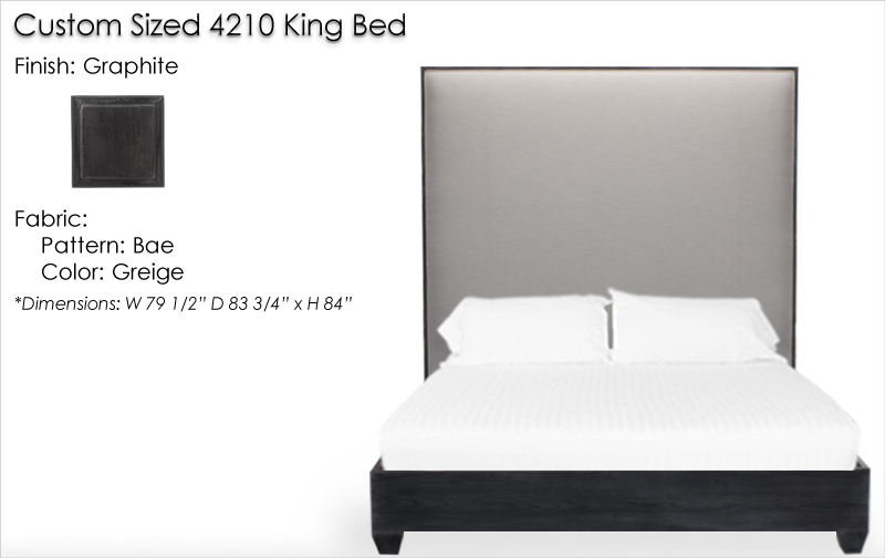 Lorts Custom Sized King Bed finished in Graphite