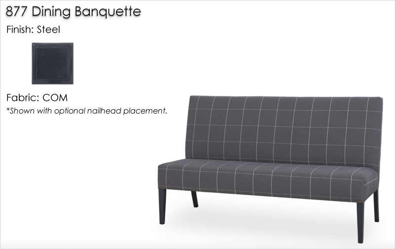 877 Dining Banquette finished in Steel