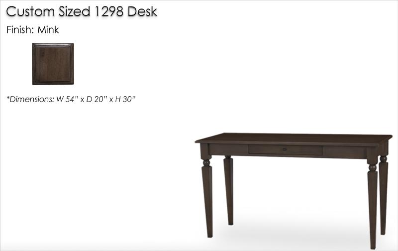Custom Sized 1298 Desk finished in Mink