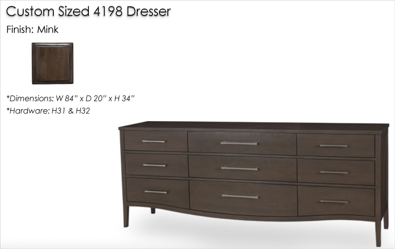 Custom Sized 4198 Dresser finished in Mink