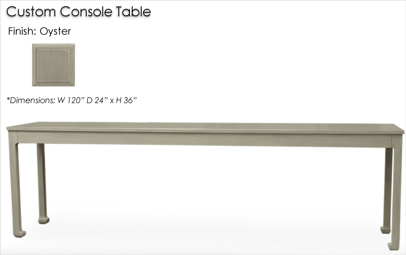 Lorts Custom Chow Leg Console Table finished in Oyster