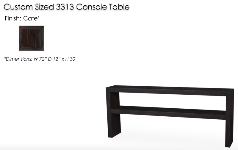 Lorts Custom Sized 3313 Waterfall Edge Console Table finished in Cafe
