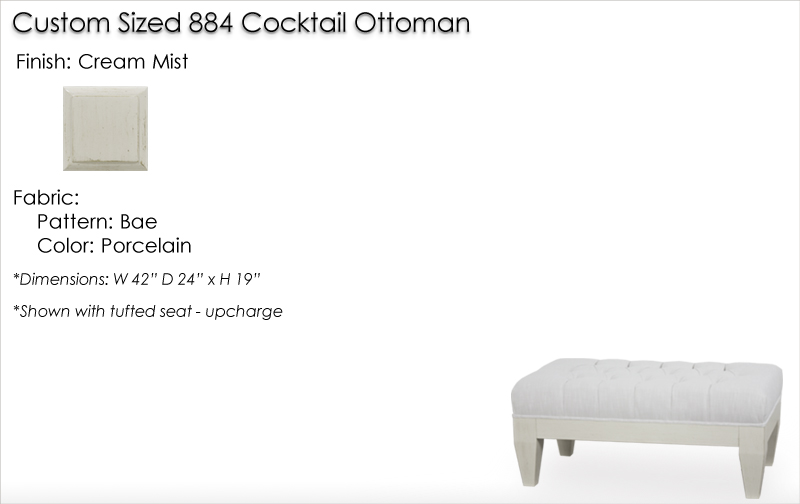 Lorts Custom Sized 884 Cocktail Ottoman finished in Cream Mist