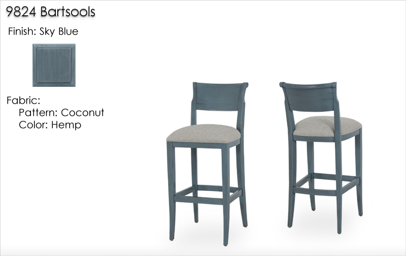 Lorts 9824 Barstools finished in Sky Blue