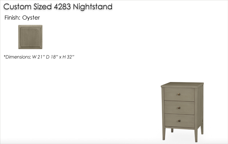Lorts Custom Sized 4283 Nightstand finished in Oyster
