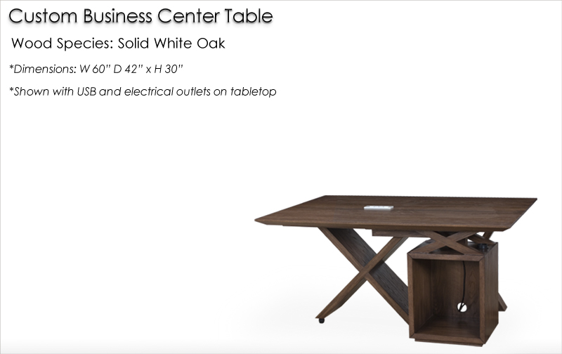 Lorts Custom Business Center Talble made from Solid White Oak