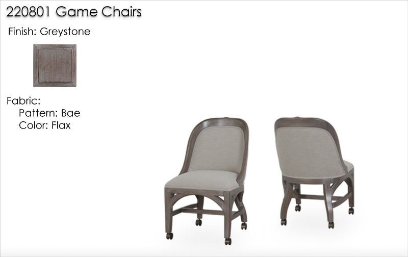 Lorts 220801 Game Chair finished in Greystone with Crypton Bae Flax fabric