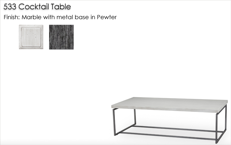 Lorts 533 Cocktail Table finished in Marble and Pewter