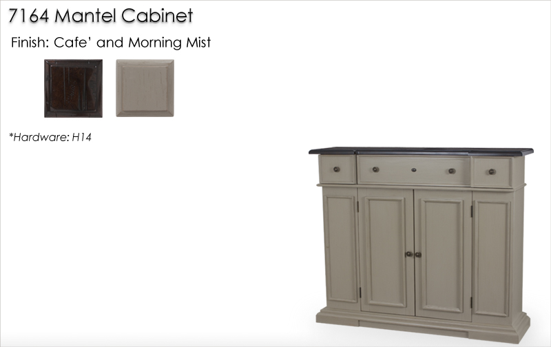 Lorts 7164 Mantel Cabinet finished in Cafe and Morning Mist
